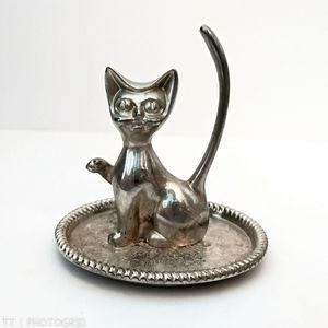 Vintage silver plated Cat jewelry holder